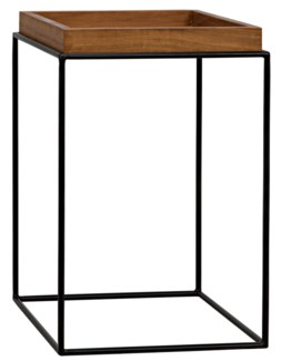 SL03 Side Table, Metal Base with Gold Teak Top