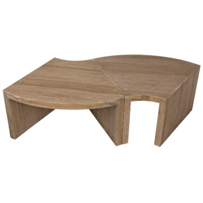 Segment Coffee Table, One Piece, Washed Walnut