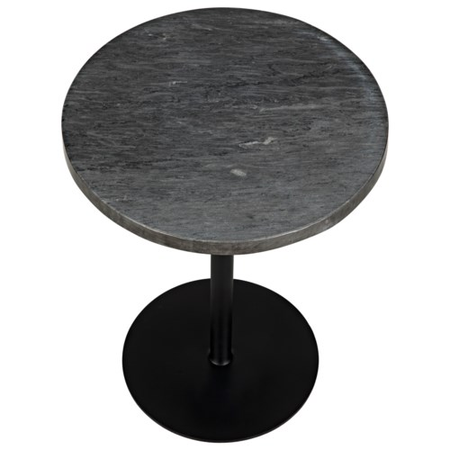 Ford Stone Top Side Table Black Metal Tall