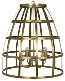 Birdcage Pendant 305, Antique Brass