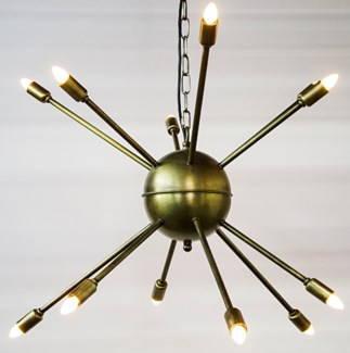Z Prato Chandelier, Metal w/Brass Finish