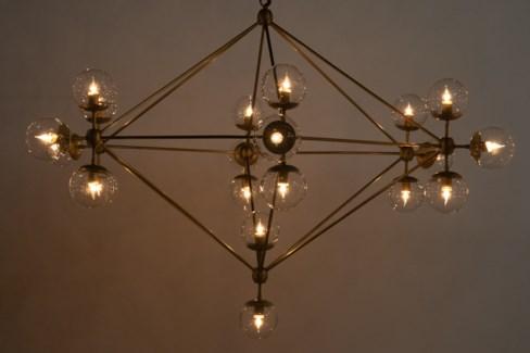 Pluto Chandelier, Large, Antique Brass