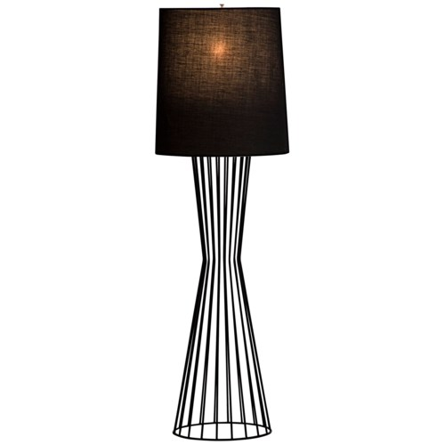 Valdis Floor Lamp, Black Metal with Black Shade