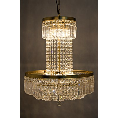 St. Petersburg Chandelier, Antique Brass, Metal and Glass