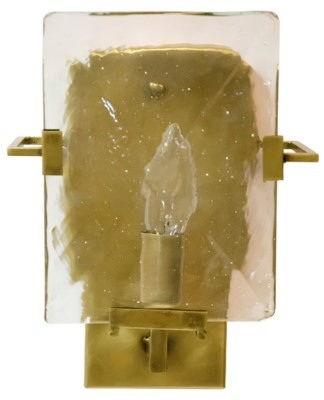 Krupp Sconce, Antique Brass, Metal and Glass