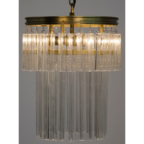 Toby Chandelier, Antique Brass, Metal and Crystal