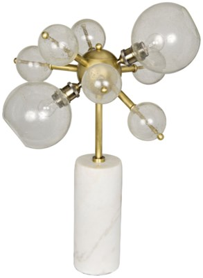 Milkyway Table Lamp, White Stone and Glass