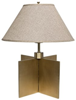 Architectural Lamp with Shade, Antique Brass