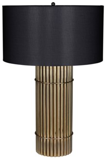 Chloe Lamp with Black Shade, Antique Brass