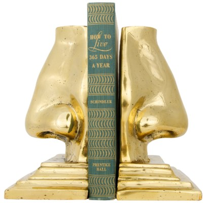 Z Nose Bookends, Brass