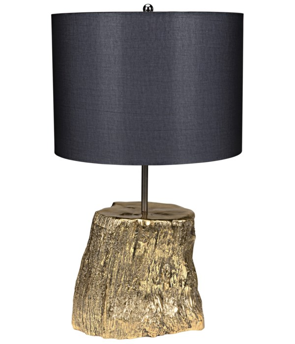 Block Table Lamp with Shade, Solid Brass