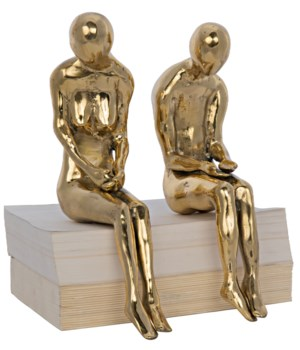 Irao Couple Statue, Large, Brass