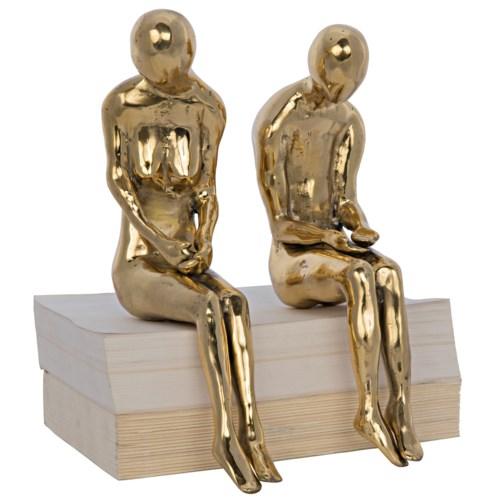Irao Couple Statue, Large, Brass