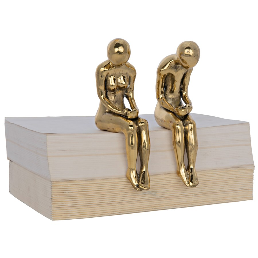 Irao Couple Statue, Small, Brass