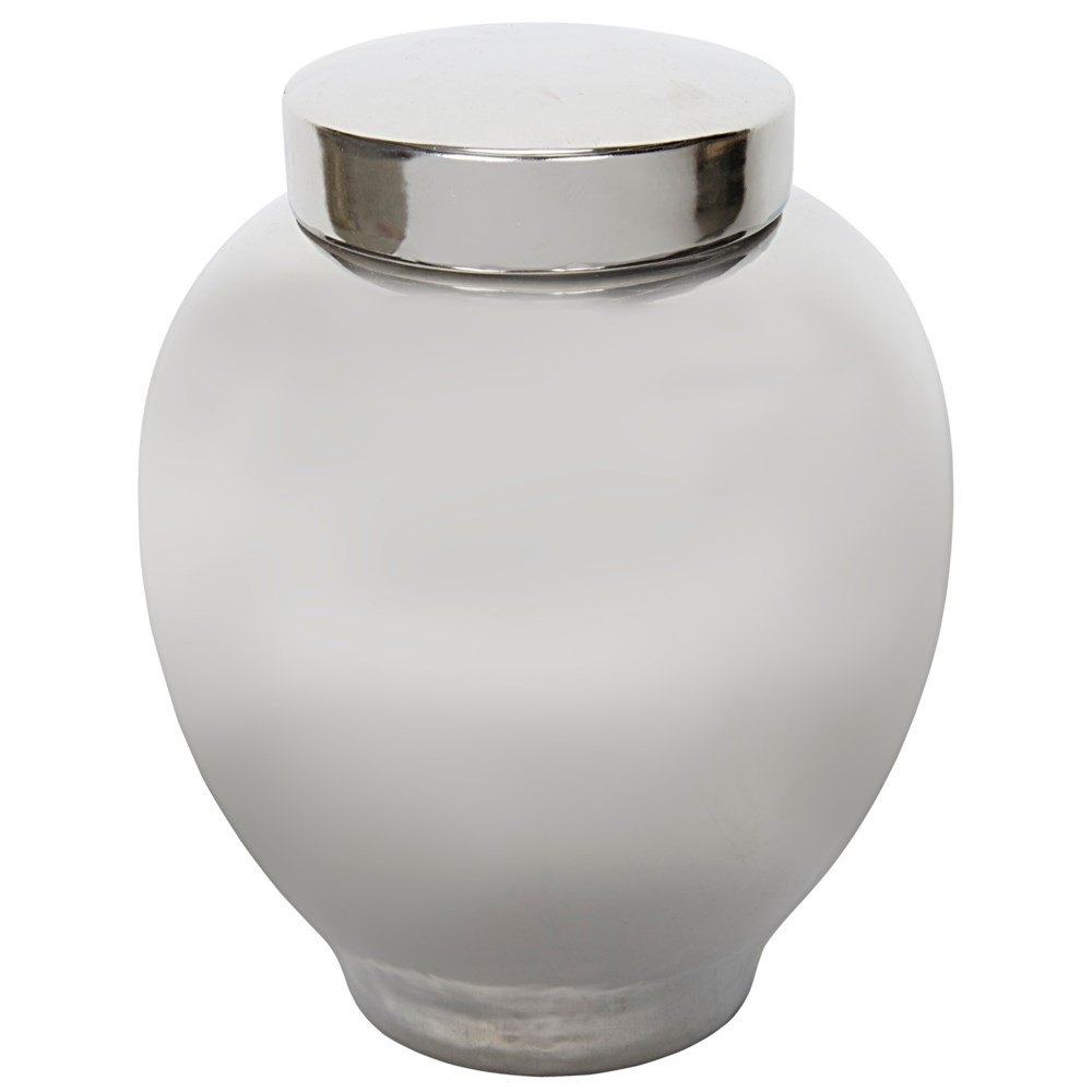 120 Ceramic Vase with Lid, Silver Finish