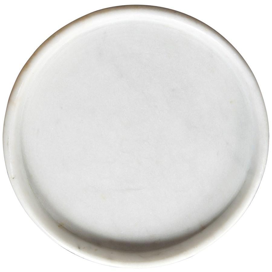 """16"""" Round Tray, White Stone"""