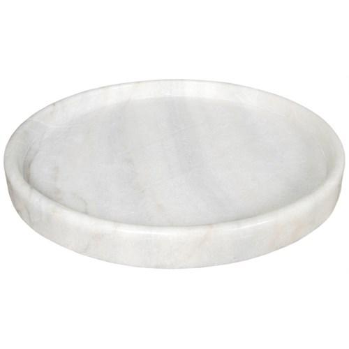 """20"""" Round Tray, White Stone"""