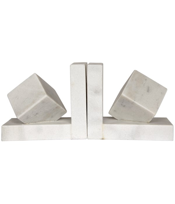 Cube Bookends, White Marble