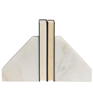 Slide Bookends, White Marble