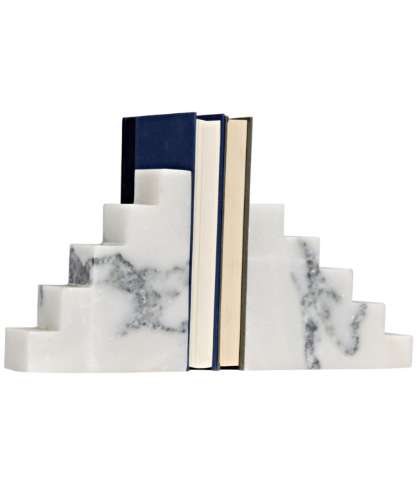 Step Bookends, White Marble
