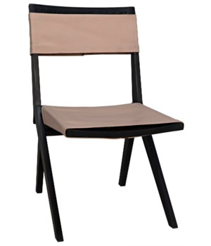 Hyde Chair with Leather, Charcoal Black