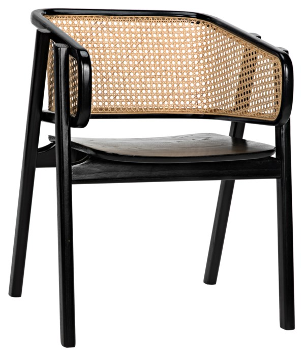 Delphi Chair with Caning, Charcoal Black