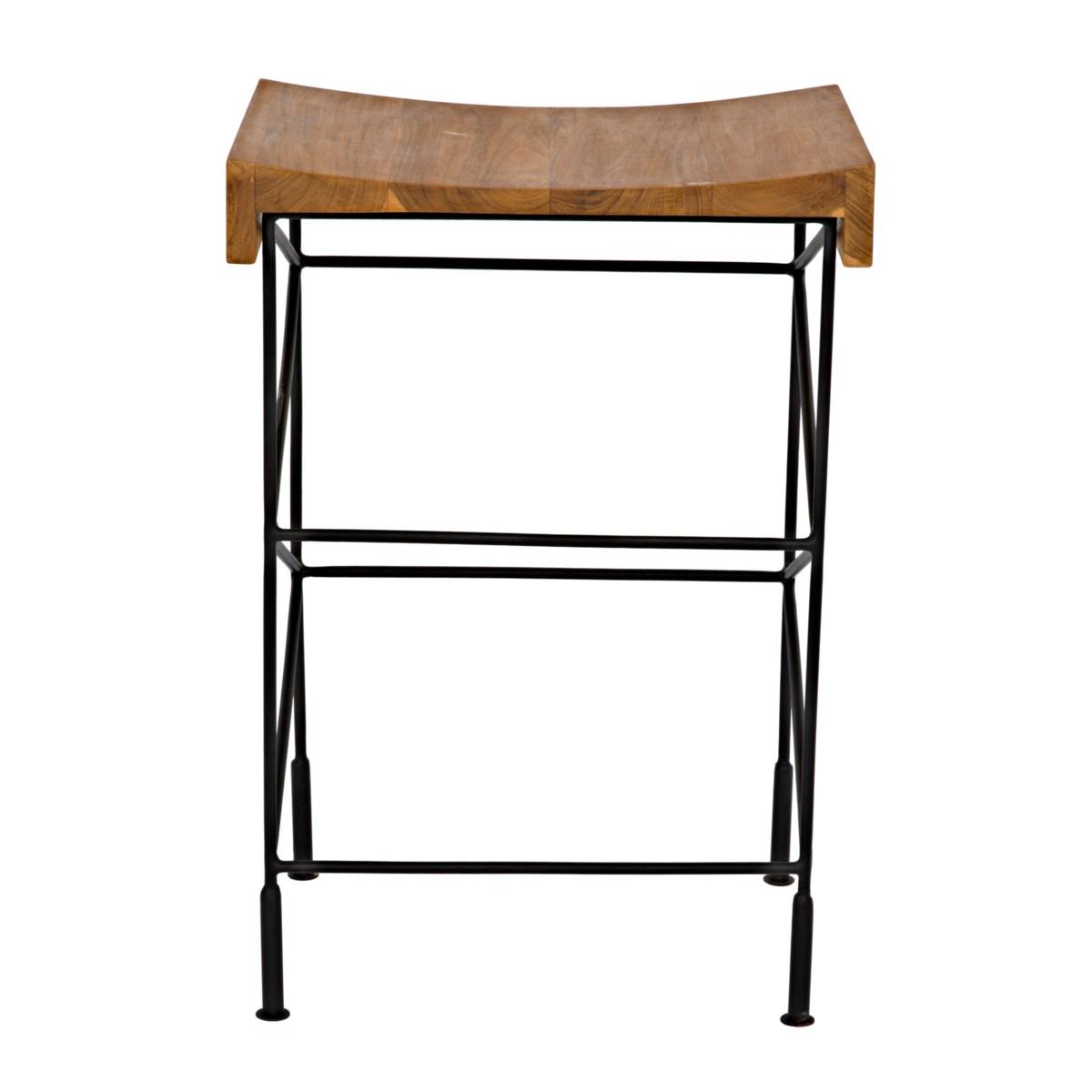 Bridge Counter Stool Teak Seat w/Metal
