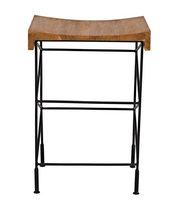 Bridge Counter Stool Teak Seat with Steel