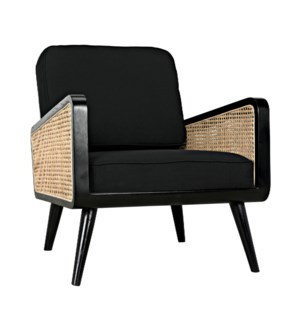 Edward Chair, Charcoal Black with Caning