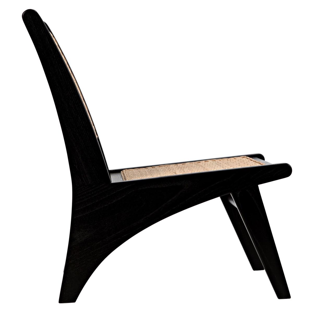Mona Chair w/Rattan, Charcoal Black
