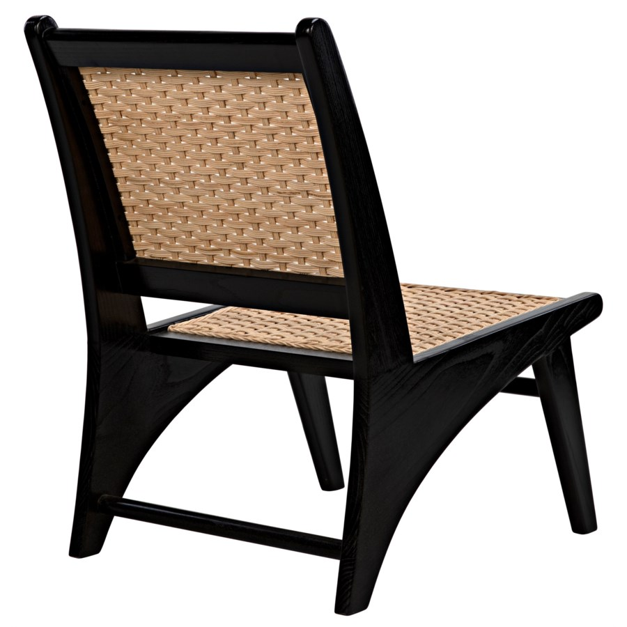Mona Chair w/Rattan, Charcoal Black