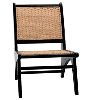 Mona Chair with Rattan, Charcoal Black