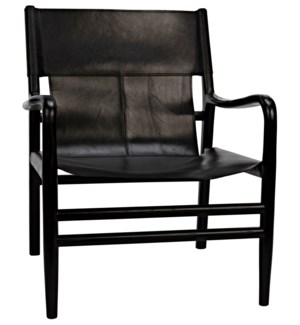 Clancy Chair with Leather, Charcoal Black
