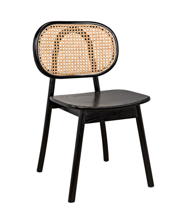 Brahms Chair, Charcoal Black with Caning