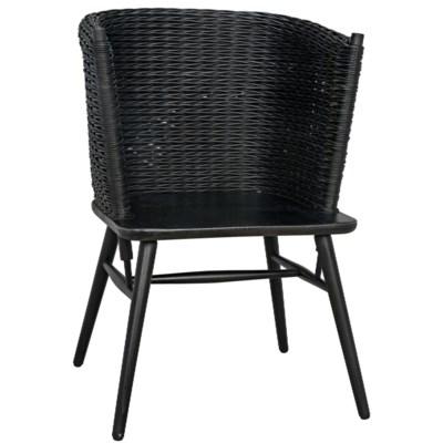 Curba Chair with Rattan, Charcoal Black