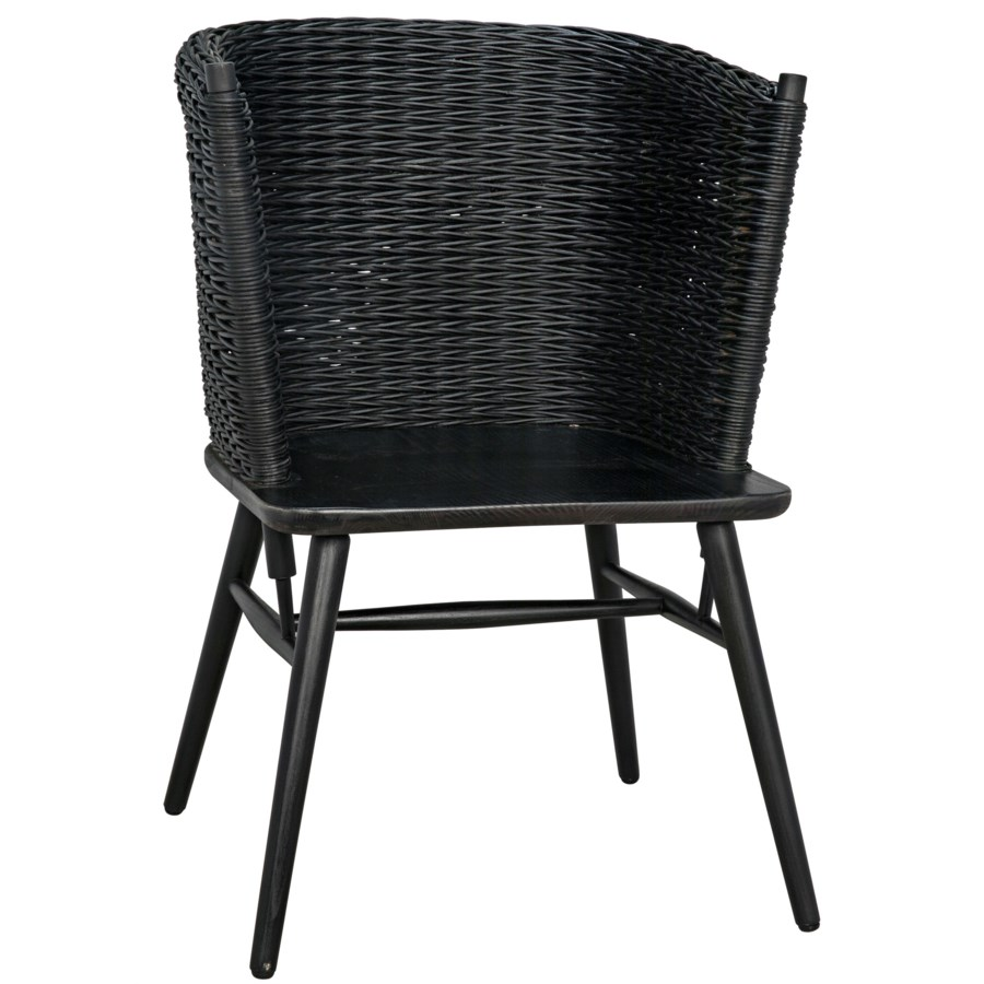 Curba Chair with Rattan, Charcoal Black