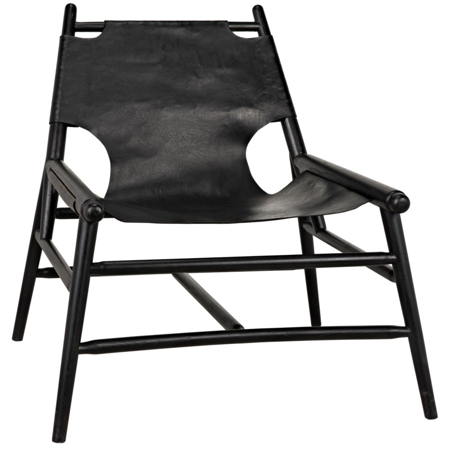Tiger Chair with Leather, Charcoal Black
