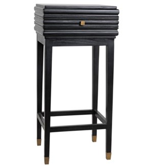 Kitame Side Table with Drawer, Charcoal Black