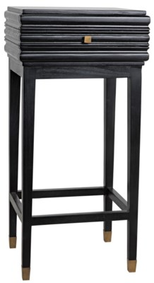 Kitame Side Table W/Drawer, Charcoal Black