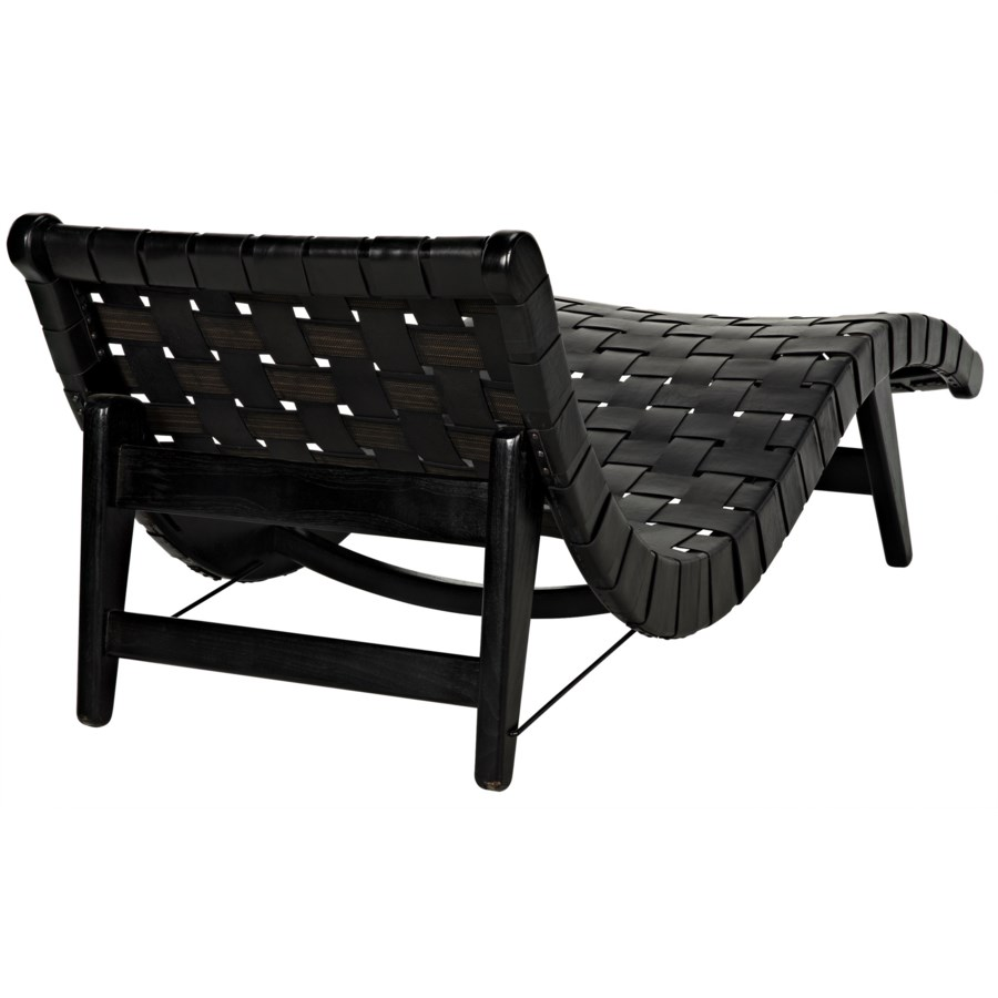 Corado Lounge Chair w/Leather, Black