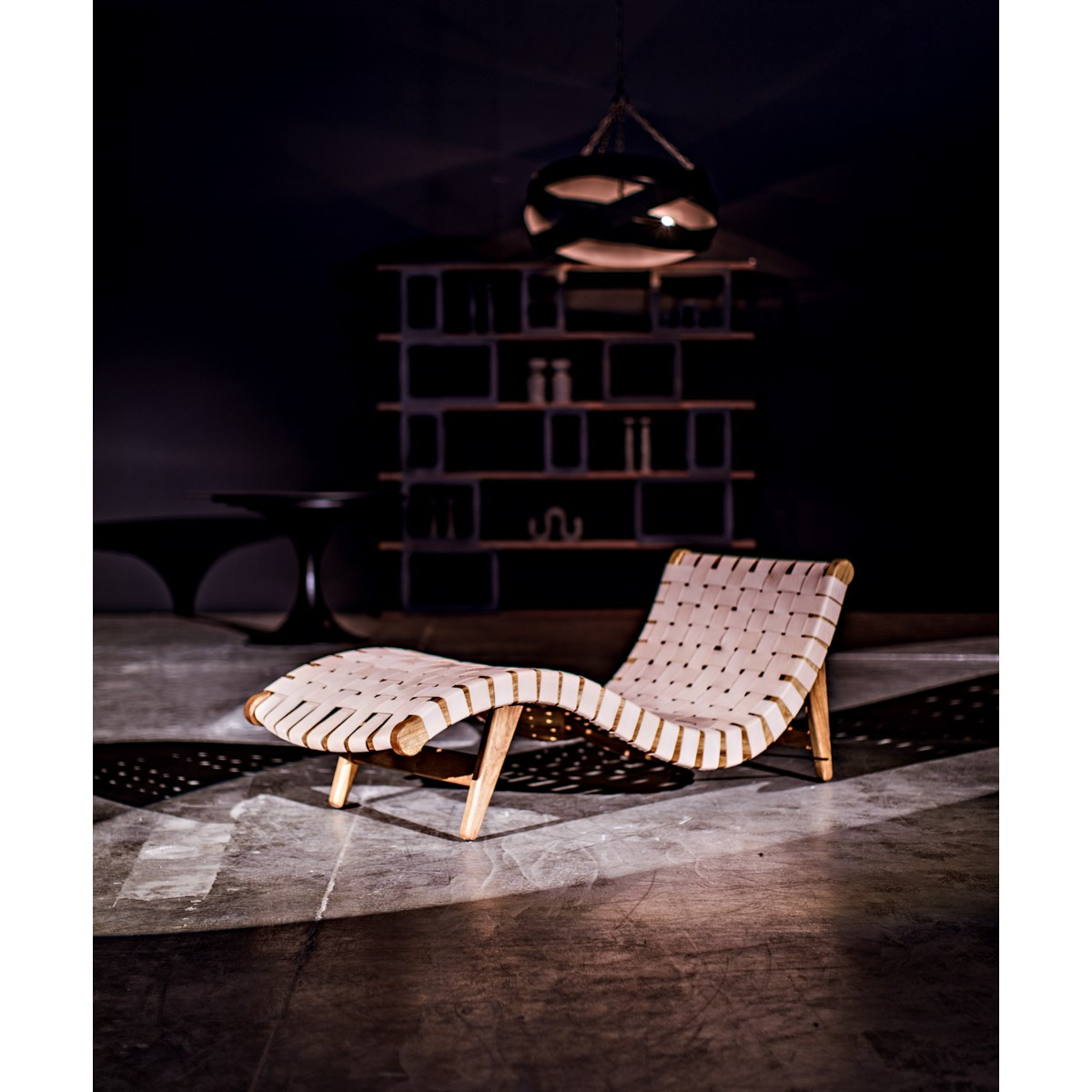 Teak Corado Lounge Chair with Leather, Natural