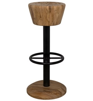 Thetis Bar Stool, Teak and Metal