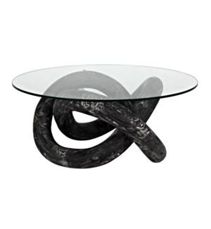 Phobos Coffee Table, Cinder Black with Glass