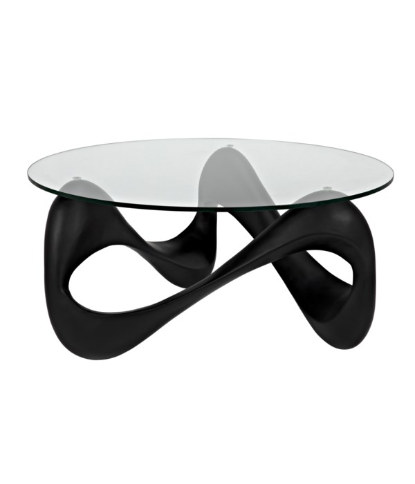 Orion Coffee Table, Black Resin Cement with Glass