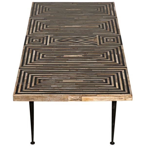 Deco Onyx Inlaid Coffee Table with Metal Legs