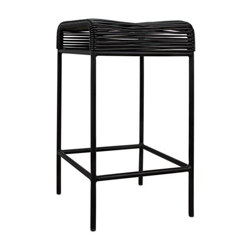 Hitam Counter Stool W/Metal Frame