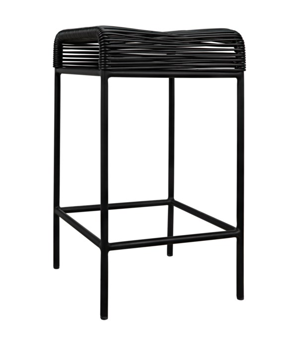 Hitam Counter Stool with Steel Frame