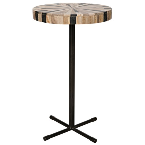 Nola Side Table, Petrified Wood/Metal