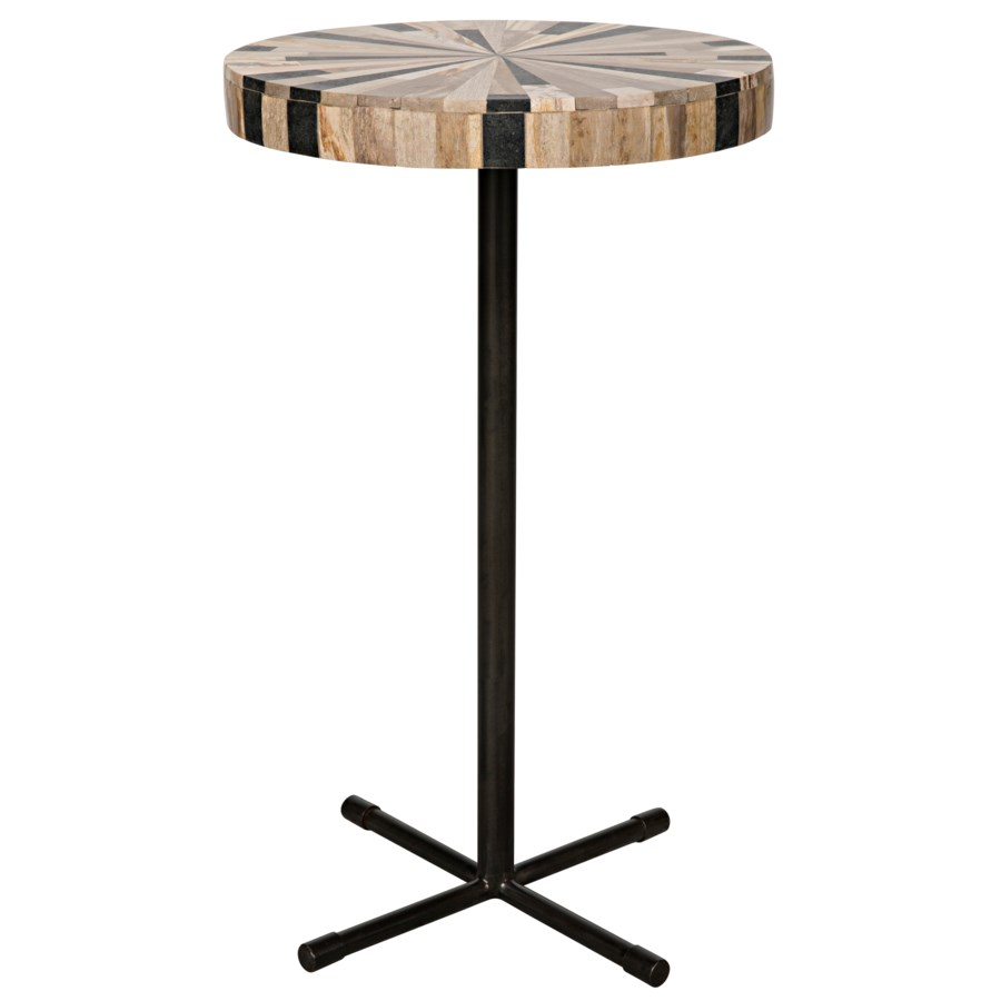 Novak Side Table, Petrified Wood/Metal