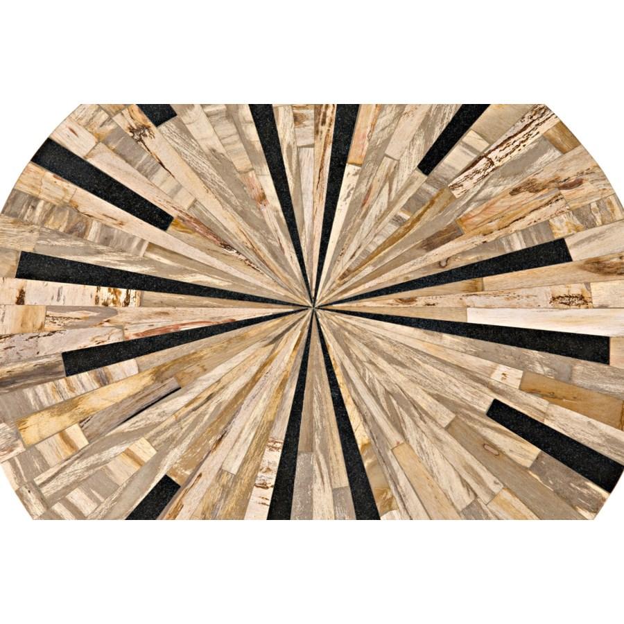Novak Coffee Table, Petrified Wood w/Metal